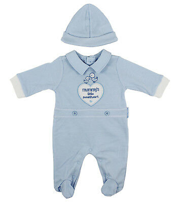 Baby Boys All in One Blue Romper Sleepsuit & Hat Outfit Newborn - 3 Months