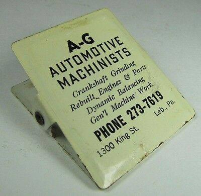 Old A-G AUTOMOTIVE MACHINISTS Leb Pa Ad Paperclip Crank Grinding Rebuilt Engines