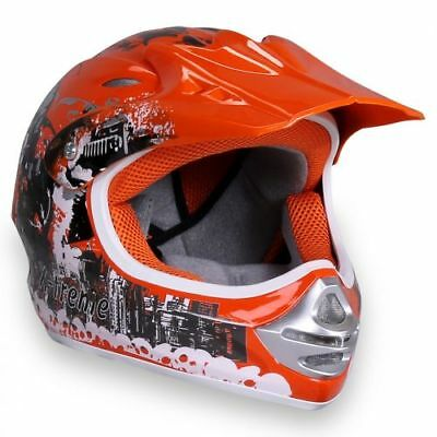 Kinder Crosshelm X-treme Cross Helm Kinderhelm Motorradhelm Quadhelm orange