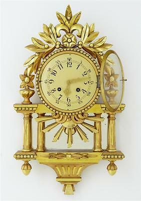 20Th Century Swedish Gilt Carved Wood Wall Clock