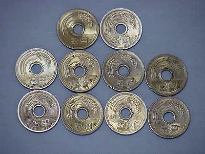 10 Japan 5 Yen Coins - 10 Japanese ¥5 (5 Yen) Coins - Lucky Coins In Japan