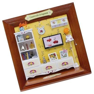 DIY 3D Wood Photo Frame Dollhouse Miniature Ornament Countryside Living Room