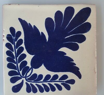 HAND PAINTED MEXICAN IMPORTED TALAVERA GLAZED TILES 10.5cm x 10.5cm , DOVE.