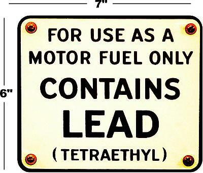 "7"" Rusty Contains Lead Gas Pump Decal Station Gasoline Pump Lubster Texaco Mobil"