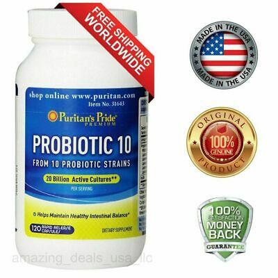 Puritans Pride Probiotic 10 (20 Billion Active Cultures) 120 capsules