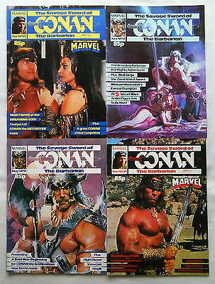 RARE Schwarzenegger SAVAGE SWORD OF CONAN JOB LOT BUNDLE 4 Issues MARVEL UK VFN