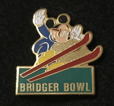 BRIDGER BOWL Mickey Mouse Skiing Ski Pin MONTANA MT Resort Souvenir Travel