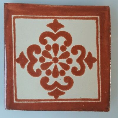 HAND PAINTED MEXICAN IMPORTED TALAVERA GLAZED TILES 10.5cm x 10.5cm BROWN MOTIF.