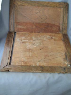 2 old wood inner lids for a writing box / lap desk, leather missing.