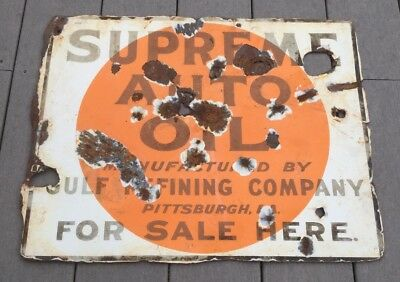 Vintage Gulf Supreme Auto Oil Sign Porcelain Double Sided