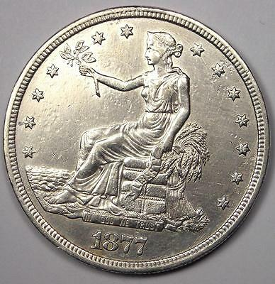 1877-S Trade Silver Dollar T$1 - Sharp Details - Rare Early Type Coin!