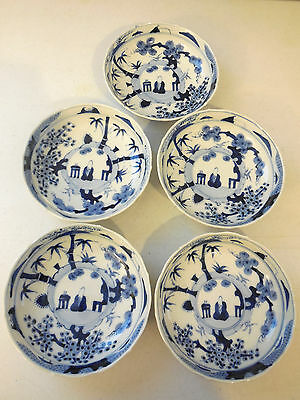 Set 5 Antique Japanese Bowls Porcelain Blue & White Taoist Sage & Plants, Meiji?