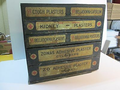 Vintage Johnson & Johnson Medical Cabinet Belladonna Plasters Red Cross