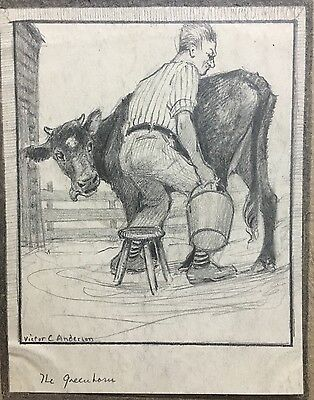 Victor Anderson milking cow cover pencil sketch illustration original art NR