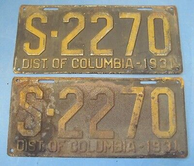1931 DC license plates matched pair District of Columbia license plates