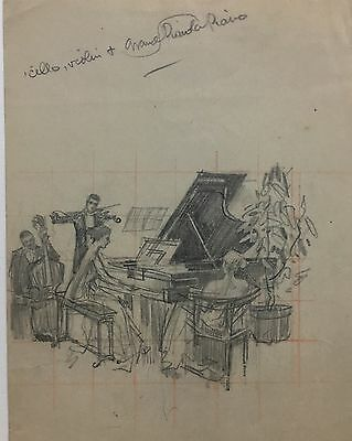 Orson Lowell illustration original art pencil sketch Woman playing piano NR