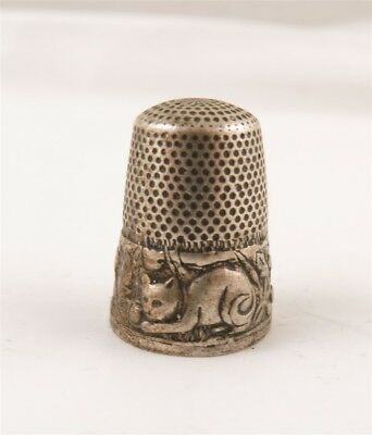 Antique Cat Kitten Sterling Silver Floral Thimble