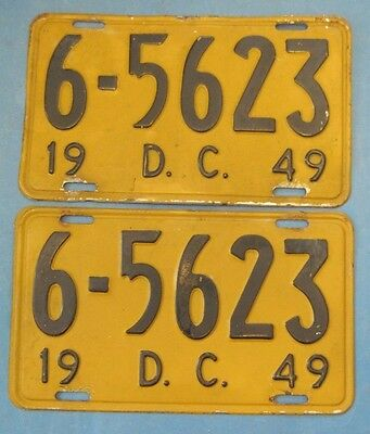 Matched pair of 1949 DC license plates District of Columbia