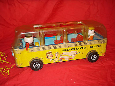 Vintage Fisher Price Wood School Bus #983 Wooden Little People 1959 Pull Toy