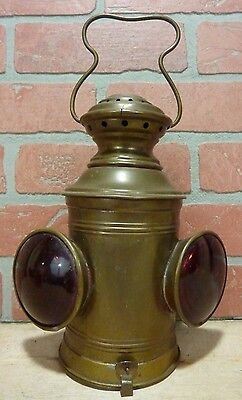 Old Brass Ships Boat Lantern double red concave lenses oil lamp top handle light