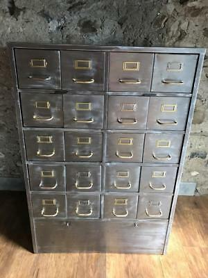 Large Vintage Industrial Stripped Metal 20 Drawer Storage Cabinet Brass Fittings