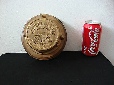 Vintage Brass Trident Water Meter Cover, Neptune Meter Co. NY-  Nicely Mounted