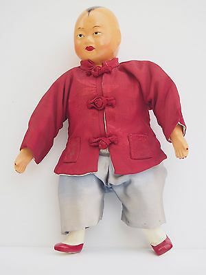 Antique Vintage Chinese Doll Silk Composition Doll Red Top and Shoes