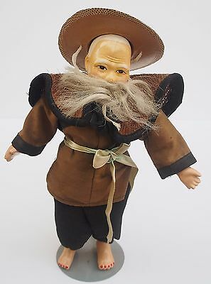 Antique Vintage Chinese Doll Composition Brown Top Black Pants Beard Hat