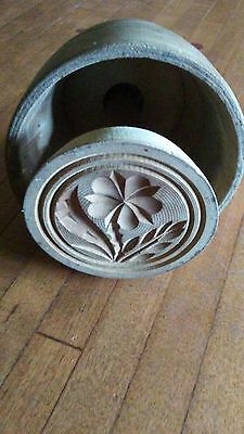 antique primitive hand carved wooden butter press neat wildflower design