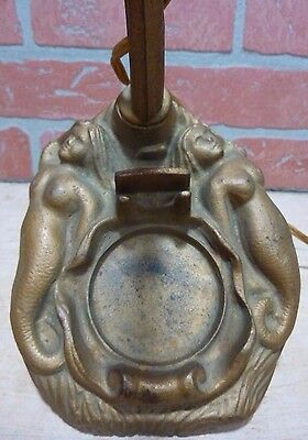 Antique Art Deco Mermaids Cast Iron Nude Figural Light Lamp Old Gold Paint
