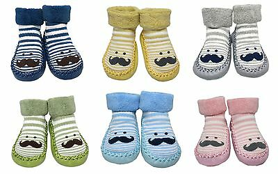 Baby Boy Girl Winter Non-slip Striped Mr. Moustache Slipper Shoe Socks Gift