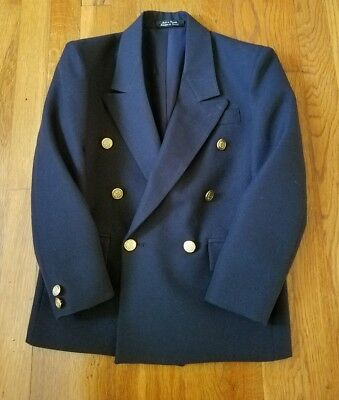 Boy's Double Breasted Jacket Blazer Navy Blue Size 10 Italica