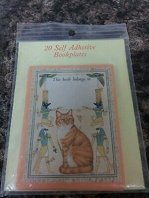 Packet of 20 Self Adhesive Bookplates Cat Design by Maxiprint York BNIP