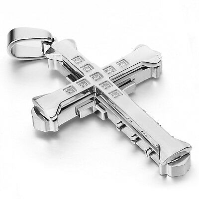MENDINO Men 316L Stainless Steel Tri-layers Cross Pendant Chain Necklace Silver