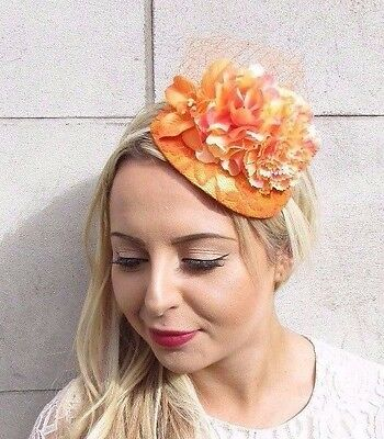 Orange Flower Fascinator Wedding Races Net Headband Teardrop Hat Hair Vtg 3686
