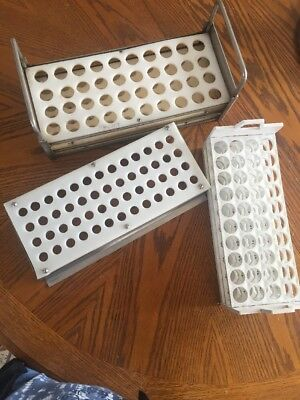 Plastic And Metal Racks For Test Tubes 40 or 52 Holes Lot Of 3