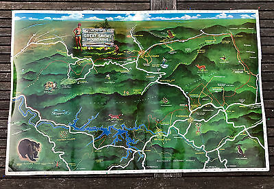Vintage 1965 Lithograph Map Great Smoky Mountains Full Color Poster LARGE 34x22
