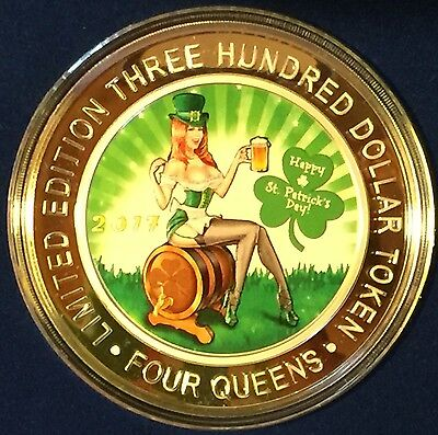 2017 Happy St. Patrick's Day Four Queens 6 Ounce Silver Strike $300 Casino Token