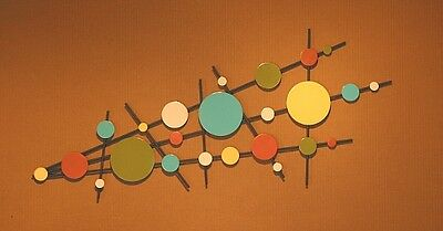 Abstract Sculpture Wall Art Mid Century Modern Atomic Retro Color Hand Made
