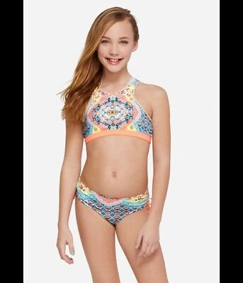 NWT Justice girls size 12 high neck sunny print 2 PC bikini SET swimwear NEW
