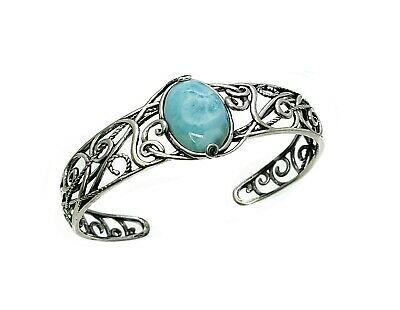Larimar 13X18mm AAA Real Blue Natural Vintage Cuff Oxidized .925 Sterling Silver