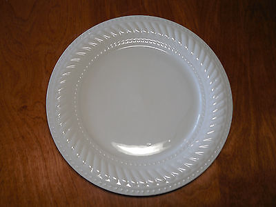"Gibson IMPERIAL BRAID White Grey Set of 4 Dinner Plates 10 5/8"" Embossed Rope"
