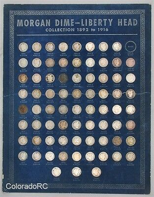 1892-1916 10C U.S. Mint Barber Dime Complete 74-Coin Set in Whitman Coin Board