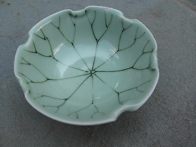 Vintage Chinese Celadon Porcelain Lotus Leaf Bowl Hand-Painted with Crimped Rim