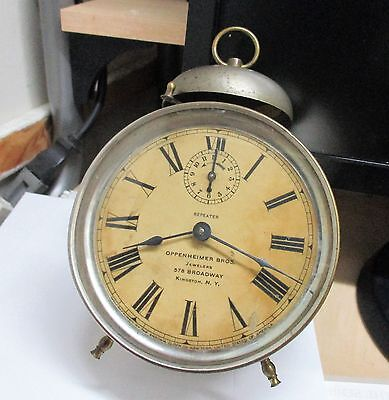 """Ansonia """"repeater"""" Running  Alarm Clock With Advertising    Antique Collectible"""