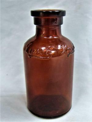 "Brown/Amber Embossed Glass Lysol Bottle - 4"" Tall - Nice"