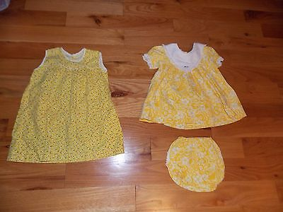 Vintage Baby Dresses Yellow Ruffle Diaper Cover One Handmade 6 Month Size