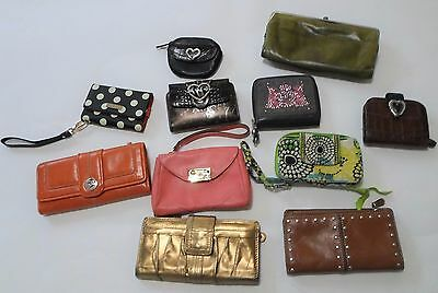 Lot of 11 Designer Wallets Fossil Brighton Kate Spade Micheal Kors Juicy Couture