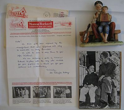 Norman Rockwell Museum Letter, Glossy Photo and The Music Lesson Figurine Signed