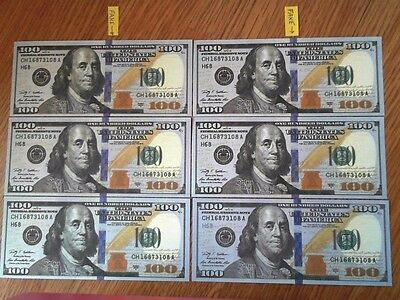 6 x $100 US Banknote Best Novelty Movie Prop Play Not legal tender Free Ship